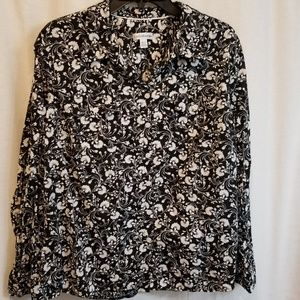 Black and white floral button up